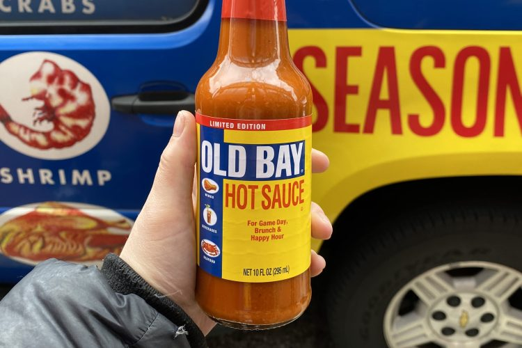 a bottle of old bay hot sauce
