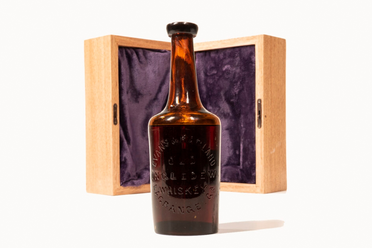 This bottle of Old Ingledew Whiskey may hail from the 18th century; it's up for auction in June