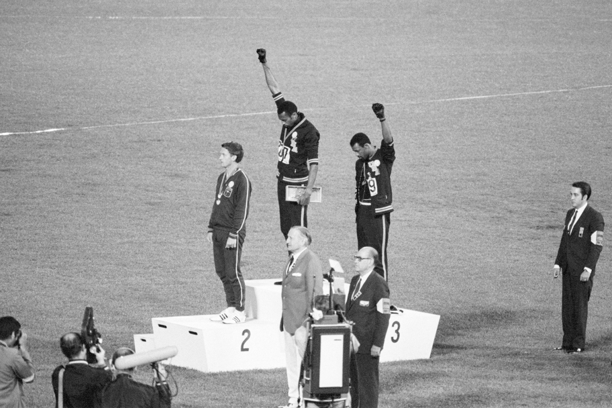 Tommie Smith and John Carlos protest at the 1968 Olympic Games in Mexico City