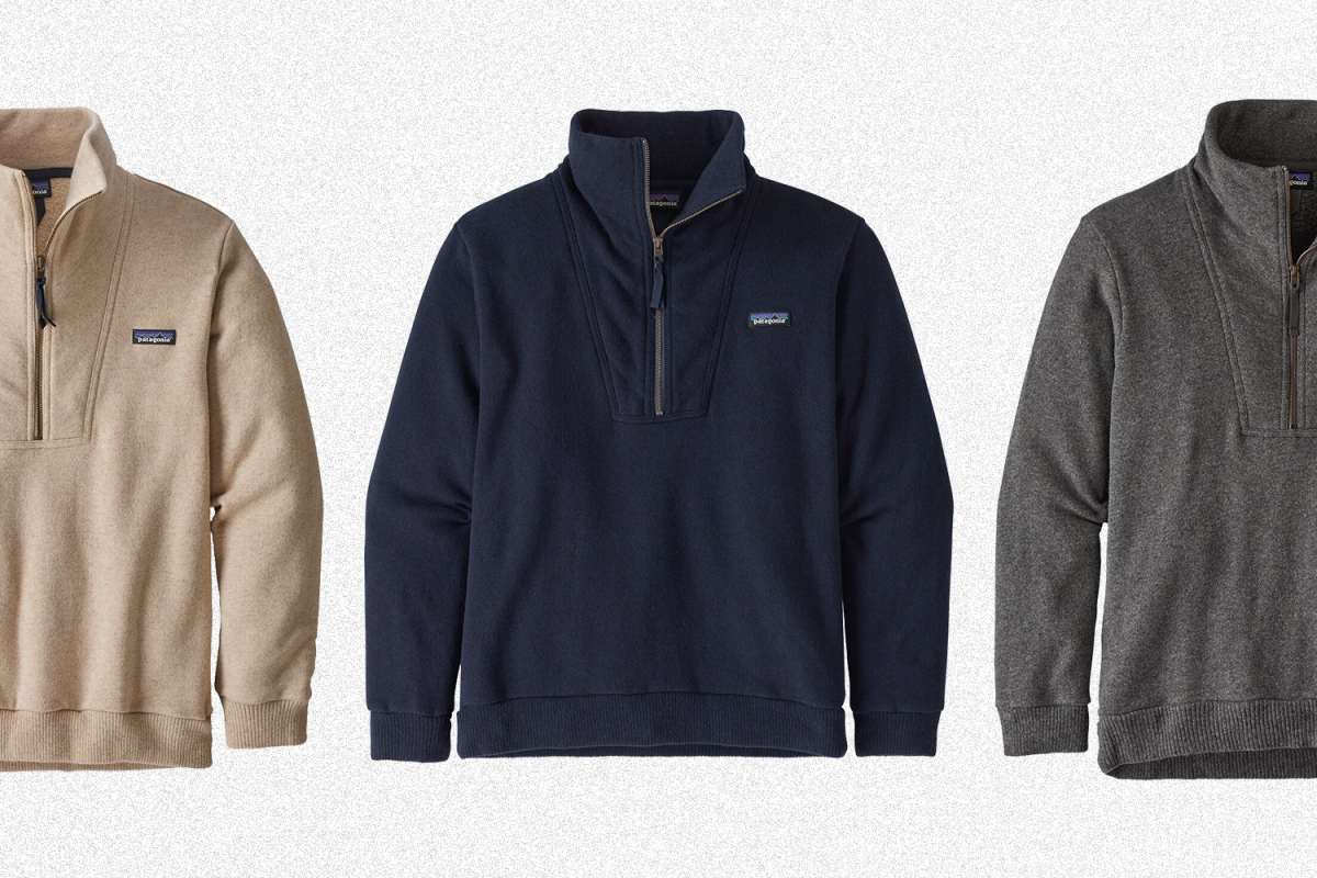 The men's Woolie Fleece Pullover from Patagonia in oatmeal, navy and grey