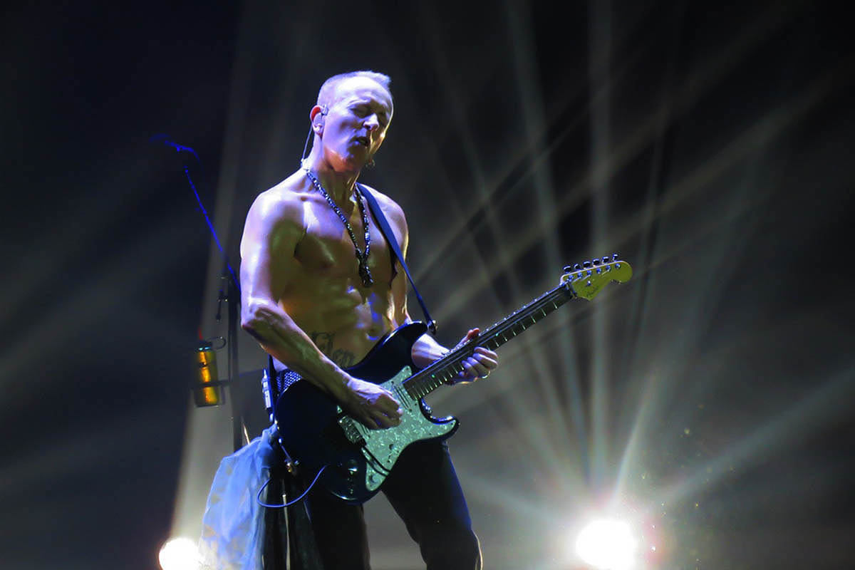 Phil Collen of Def Leppard performing in 2015