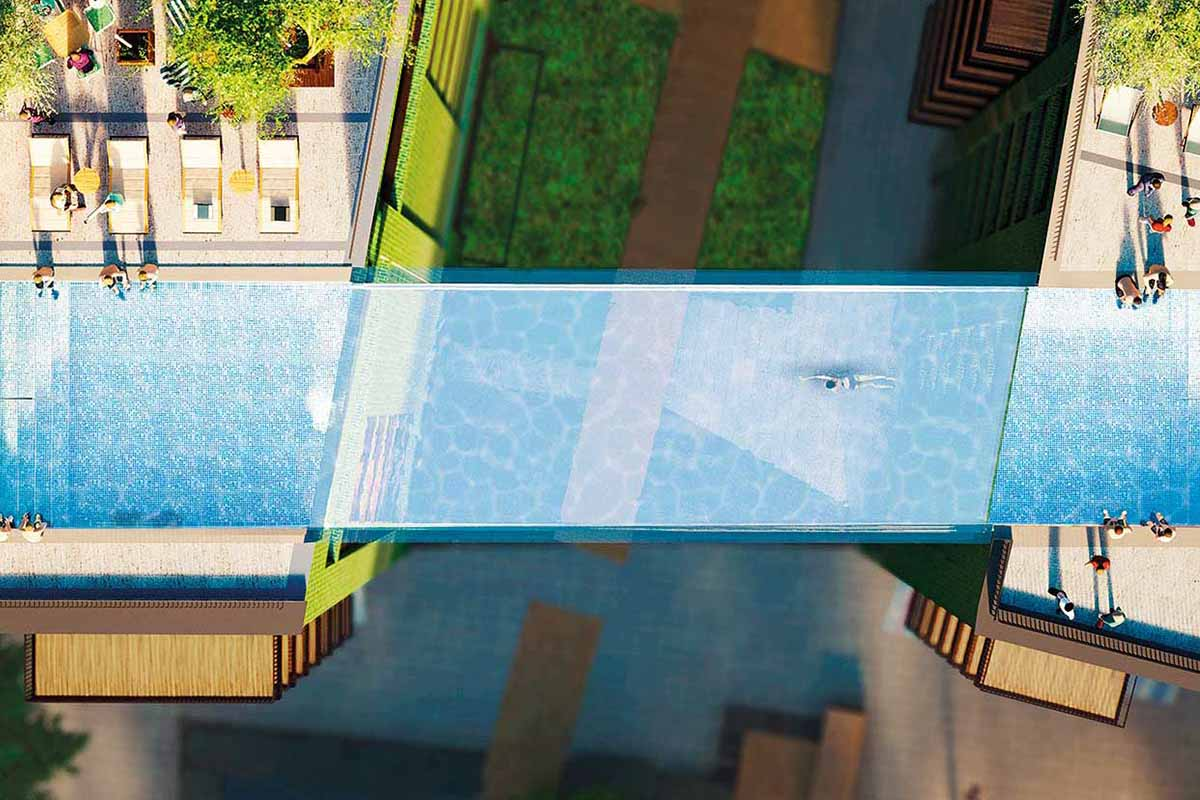 An aerial rendering of the Sky Pool in London