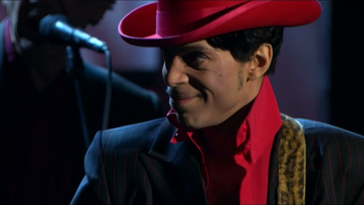 A screenshot of Prince from the re-edited take on one of the most stunning guitar solos ever.