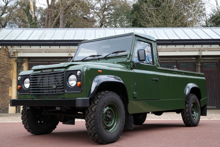 The green Land Rover Defender hearse custom designed by Prince Philip to carry his coffin for his funeral service