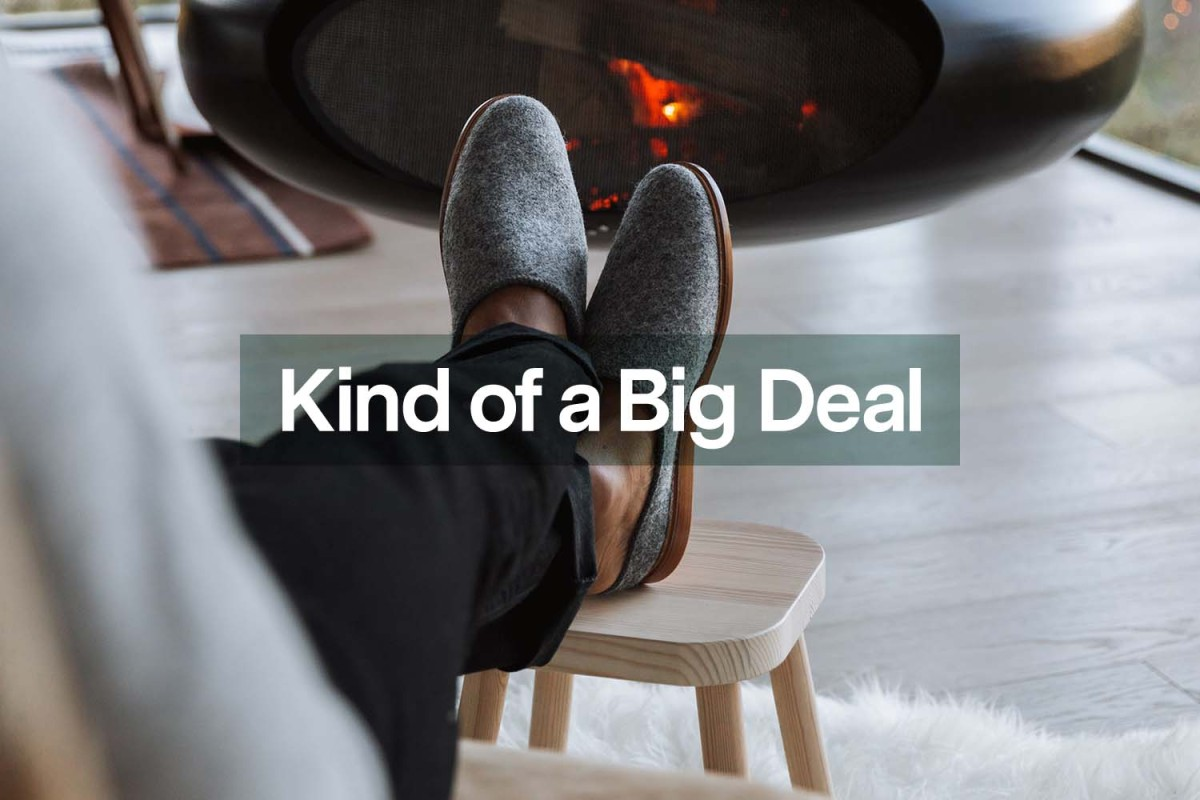 a pair of Rhodes Footwear house shoes, now on sale at Huckberry