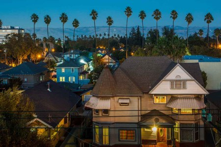Houses and Palm Trees near San Jose California downtown district; San Jose is considered the most competitive housing market
