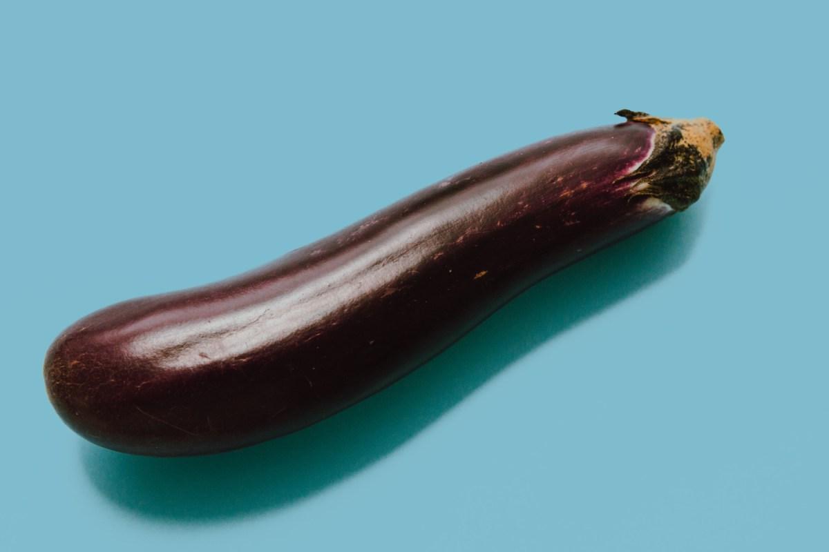 Eggplant on blue background