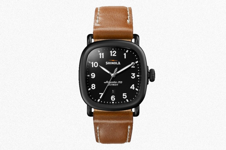 The men's Shinola Guardian watch with a black case and brown leather strap
