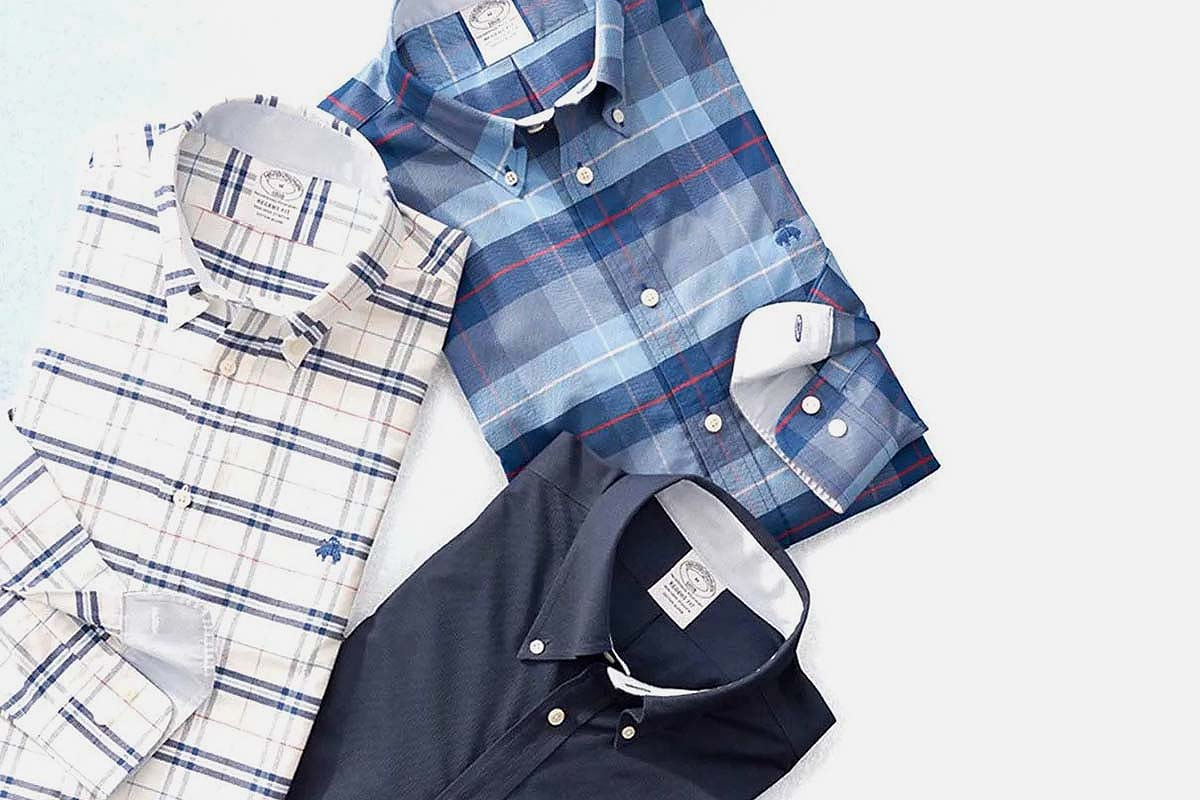 three non-iron shirts from Brooks Brothers, part of a larger spring sale