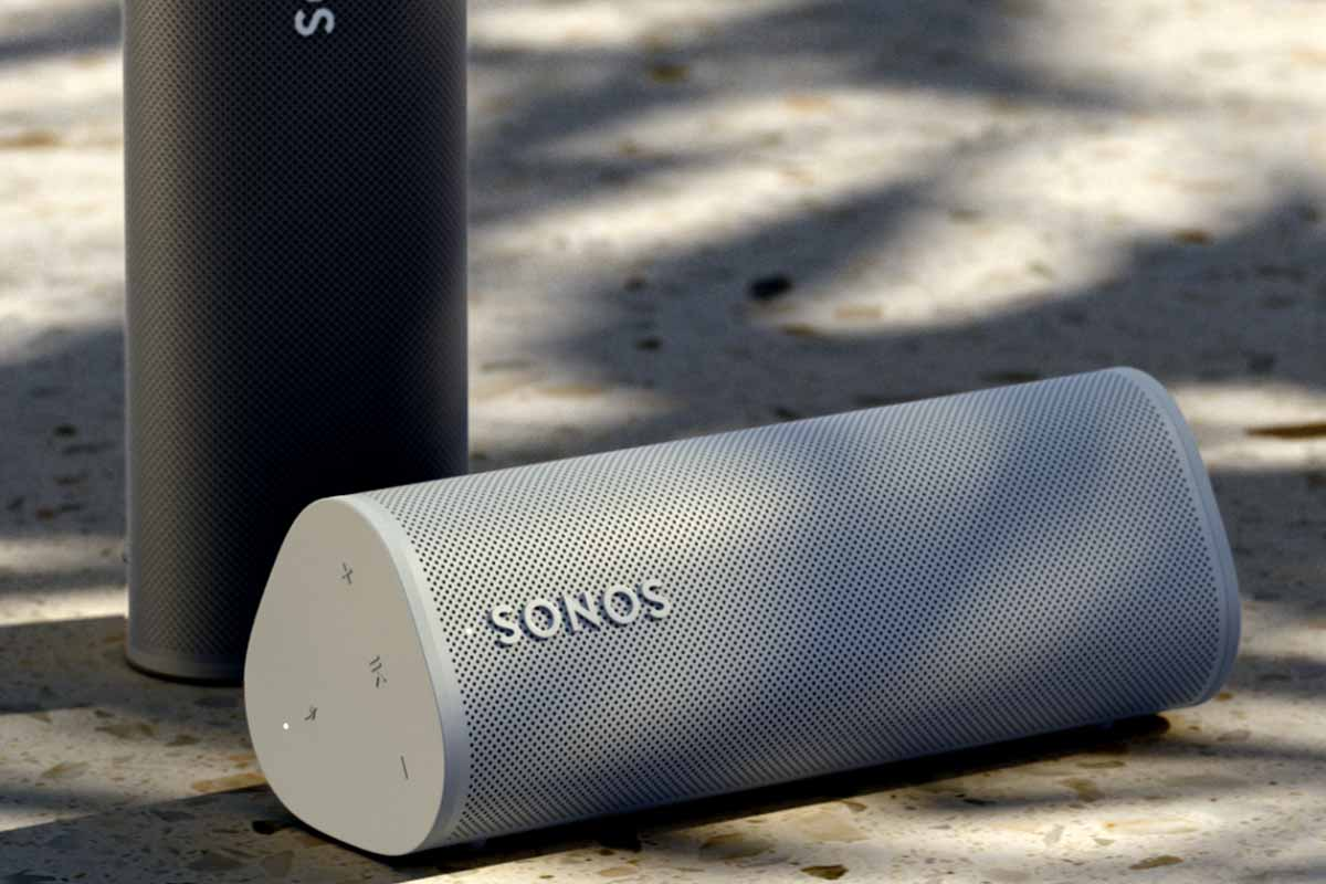 Two Sonos Roam units, sitting vertically and horizontally