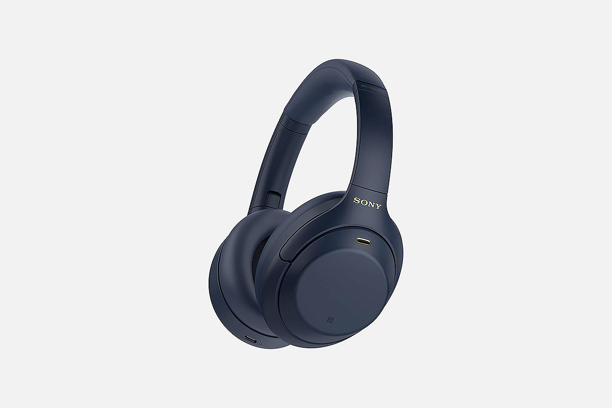 A pair of blue Sony WH-1000XM4 headphones, now at their lowest price on Amazon