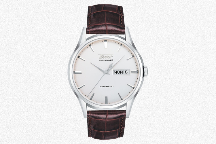 The Tissot Visodate dress watch in a 40mm size on a brown leather strap