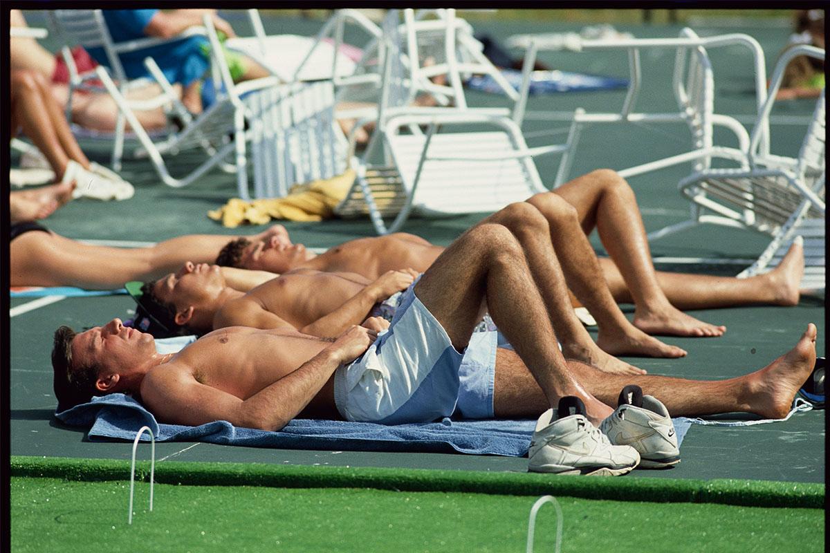 male sunbathers