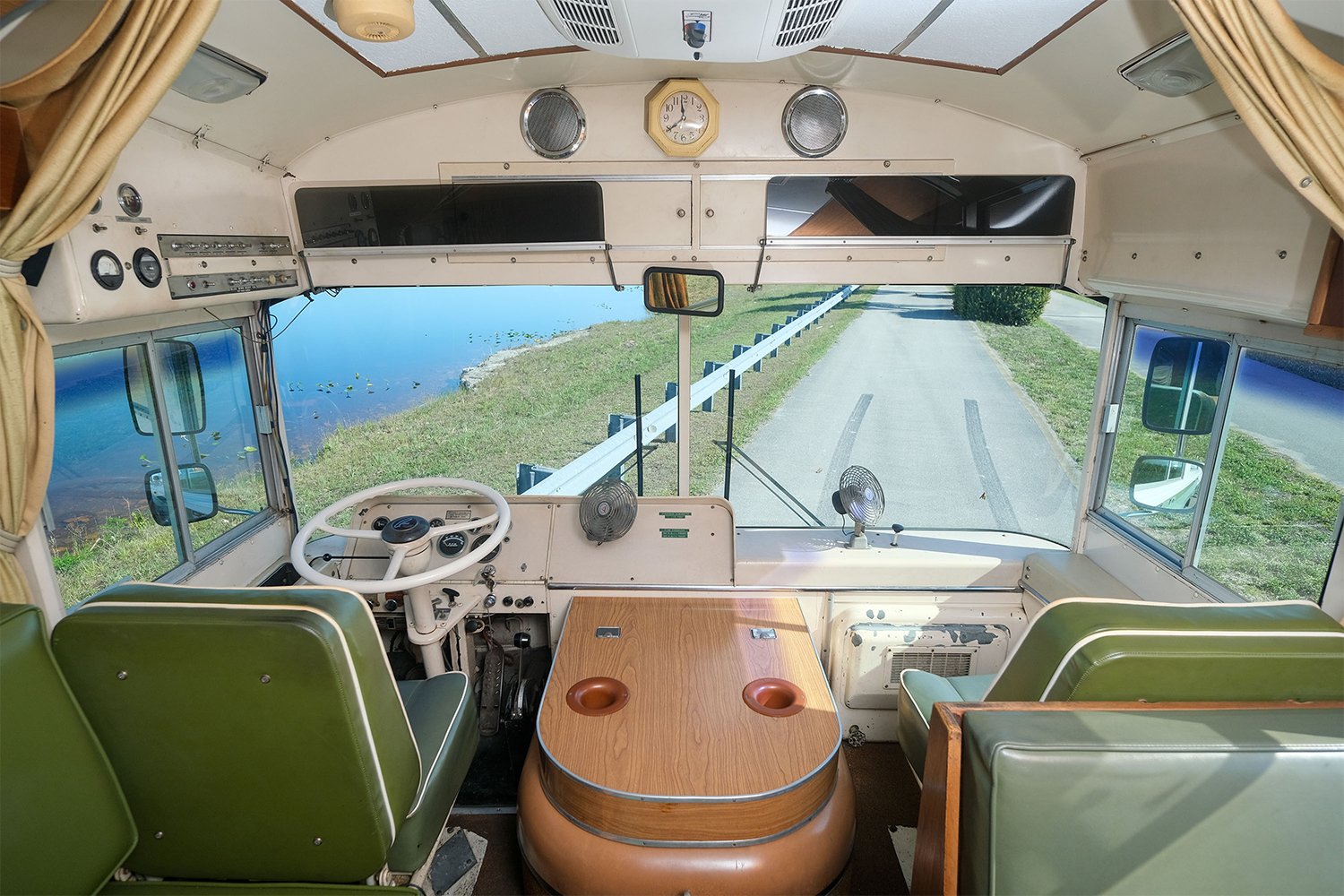 The driver's seat in a 1969 Blue Bird Wanderlodge RV
