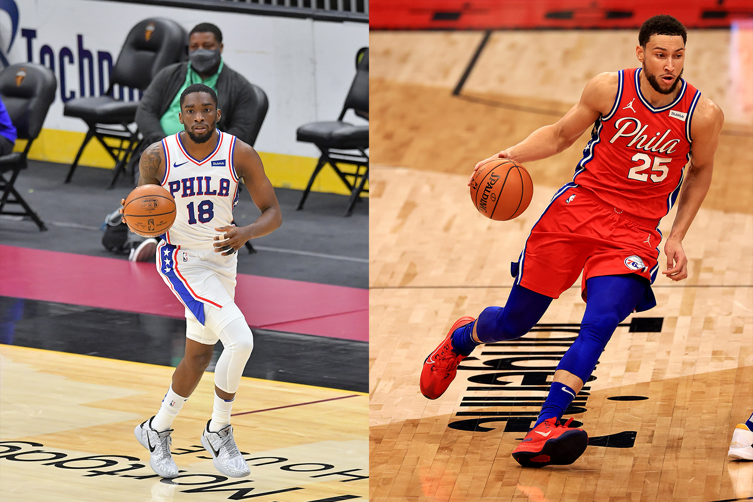 Shake Milton #18 of the Philadelphia 76ers brings the ball up court during the third quarter against the Cleveland Cavaliers (left) and Ben Simmons #25 of the Philadelphia 76ers brings the ball up the floor during a game against the Toronto Raptors (right)