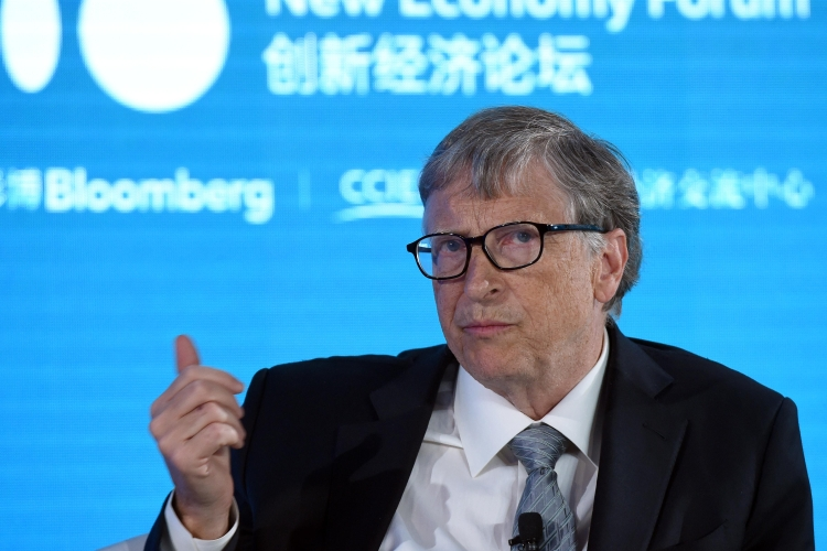 Bill Gates speaks during 2019 New Economy Forum at China Center for International Economic Exchanges