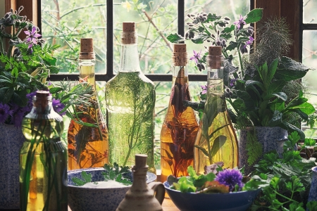 Bottles infused with various aromatics