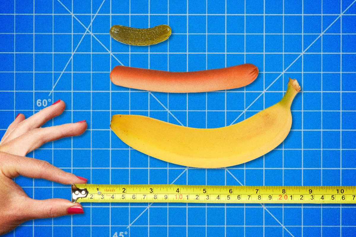 Measuring tape, banana, hot dog and pickle