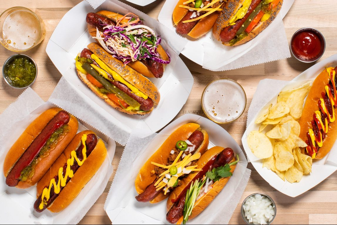 An assortment of dry-aged hot dogs.