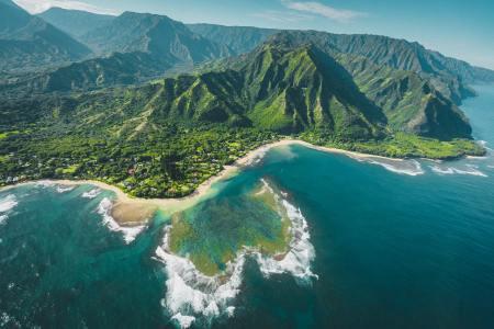 The Hawaiian island of Kauai as seen from above