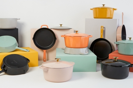A selection of Milo cast iron cookware in colors now available on Kickstarter