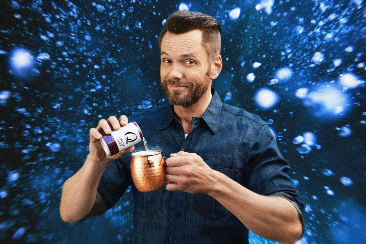 Joel McHale drinking a Moscow Mule with Q Mixers