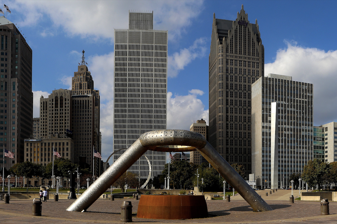 The Dodge Memorial Fountain and downtown Detroit