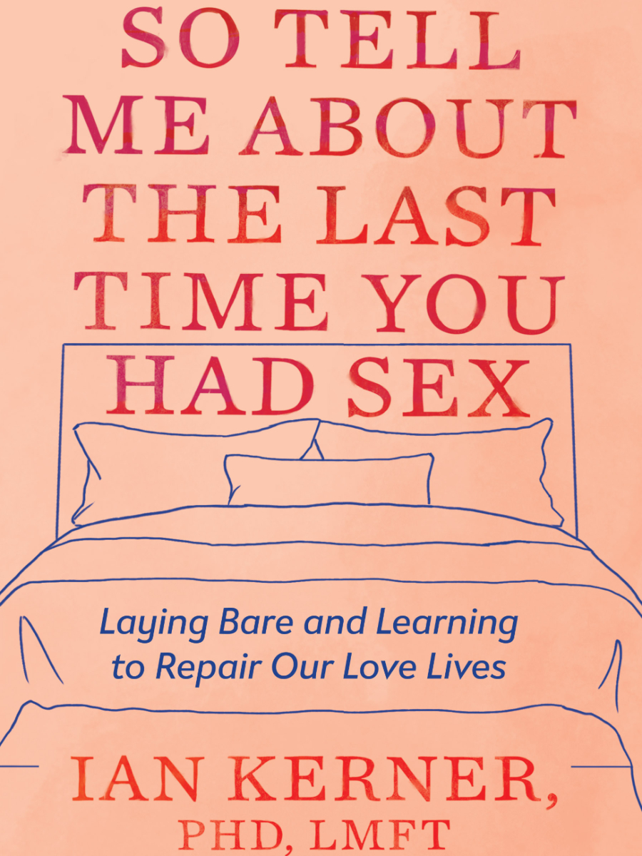 """Book cover says """"So Tell Me About the Last Time You Had Sex"""" in red lettering over a nude background featuring a blue line-drawing of a bed"""