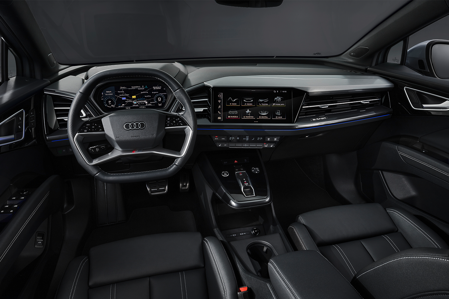 The interior of the Audi Q4 E-tron featuring a Sonos audio system