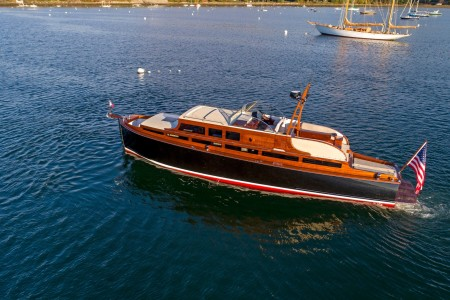 The restored Avocette III yacht from Huckins
