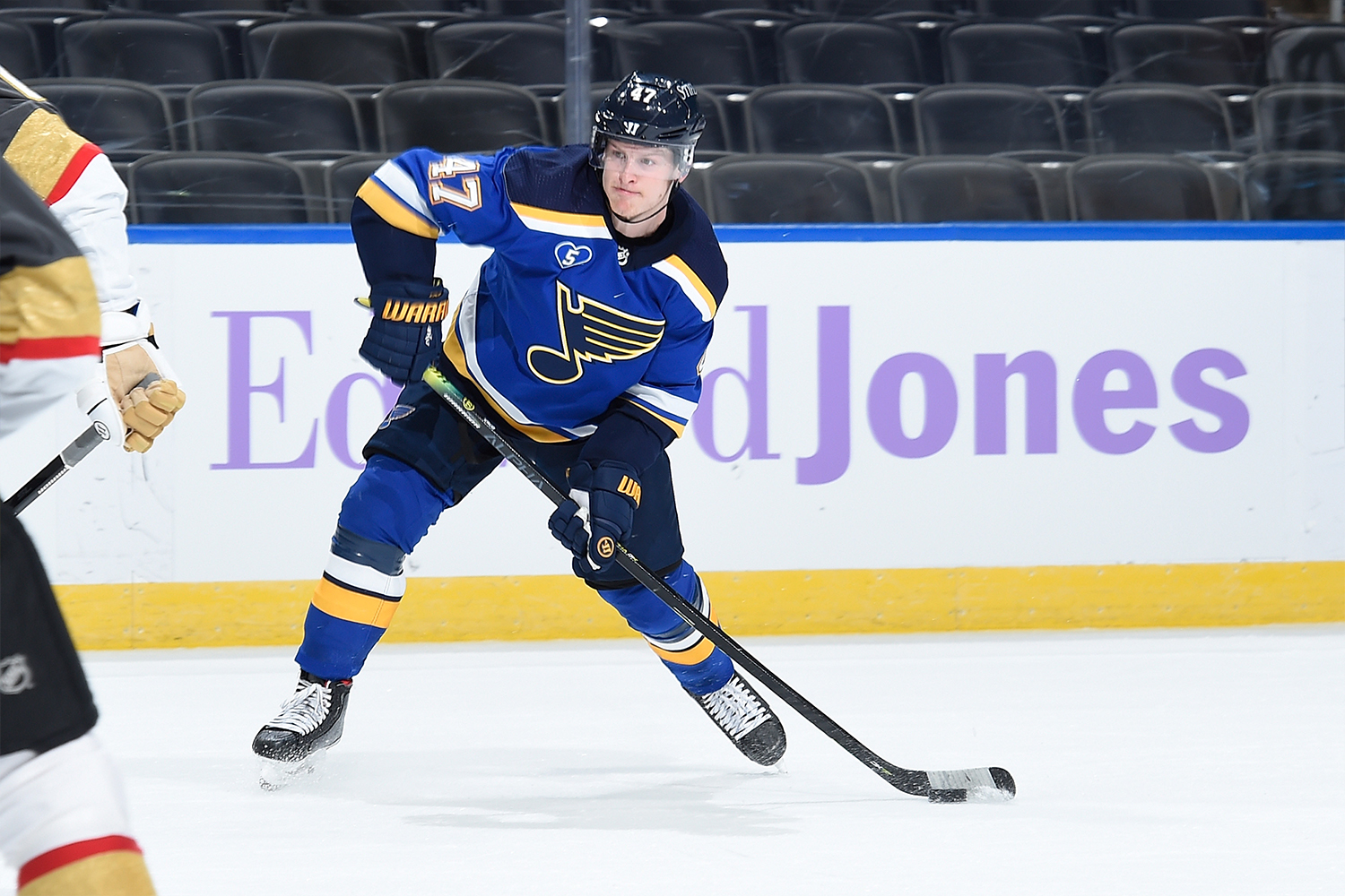 Torey Krug #47 of the St. Louis Blues in action against the Vegas Golden Knights on April 7, 2021