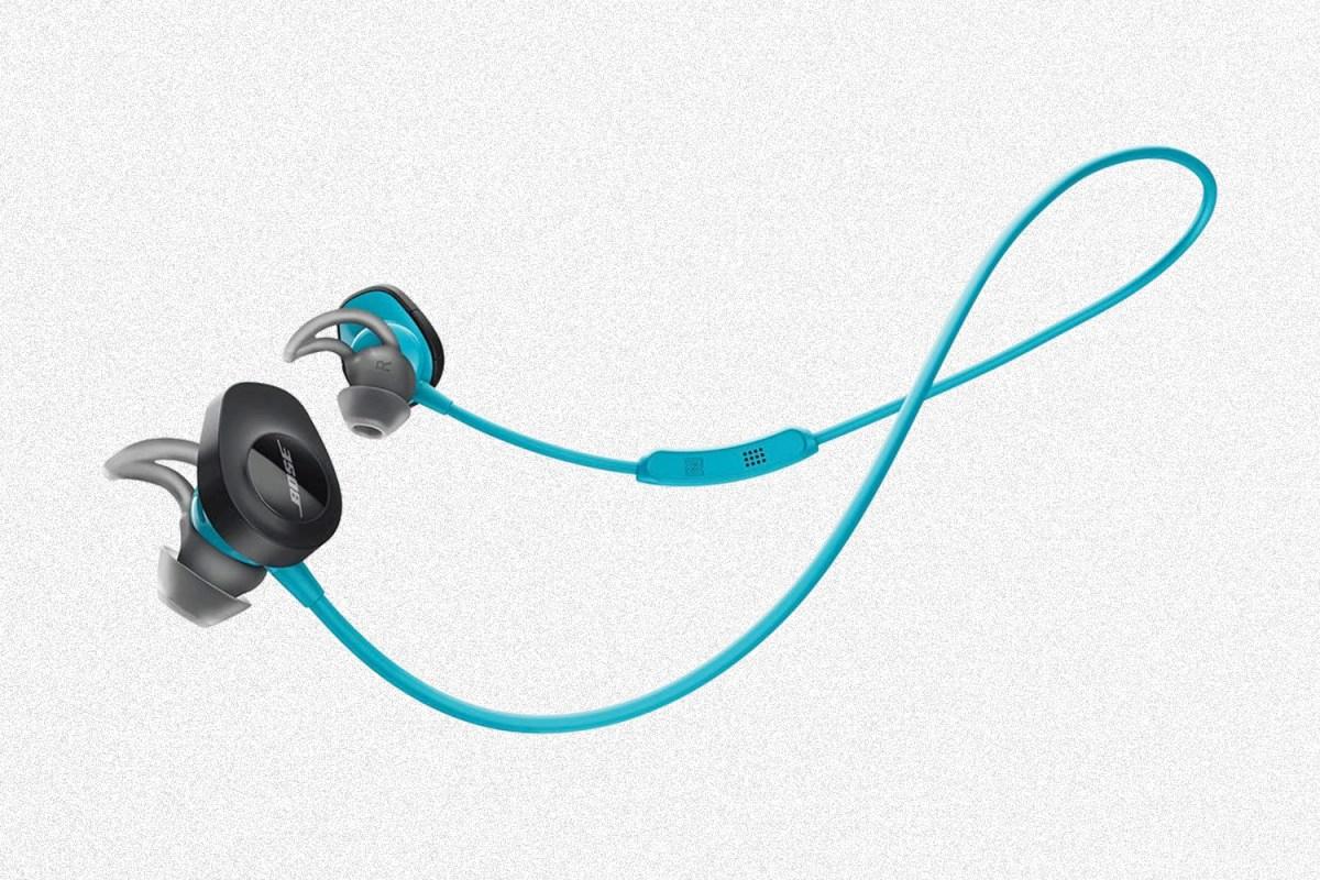Bose SoundSport Wireless Earbuds on a grey background