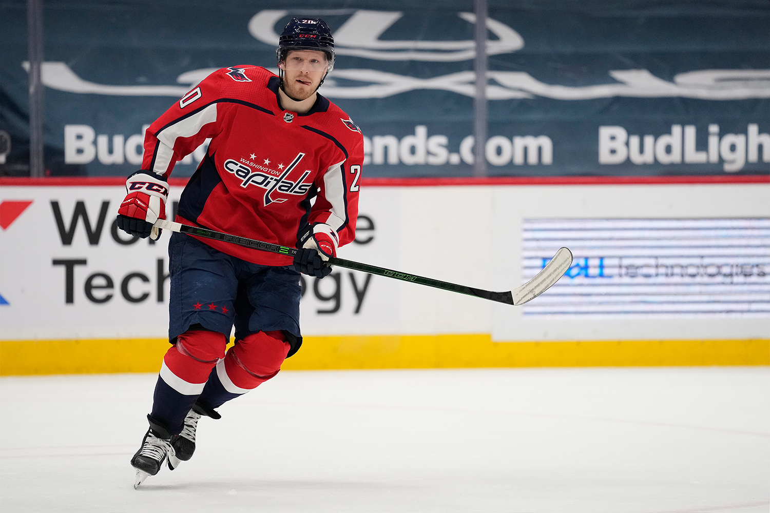Lars Eller #20 of the Washington Capitals skates against the Philadelphia Flyers in the second period at Capital One Arena on April 13, 2021