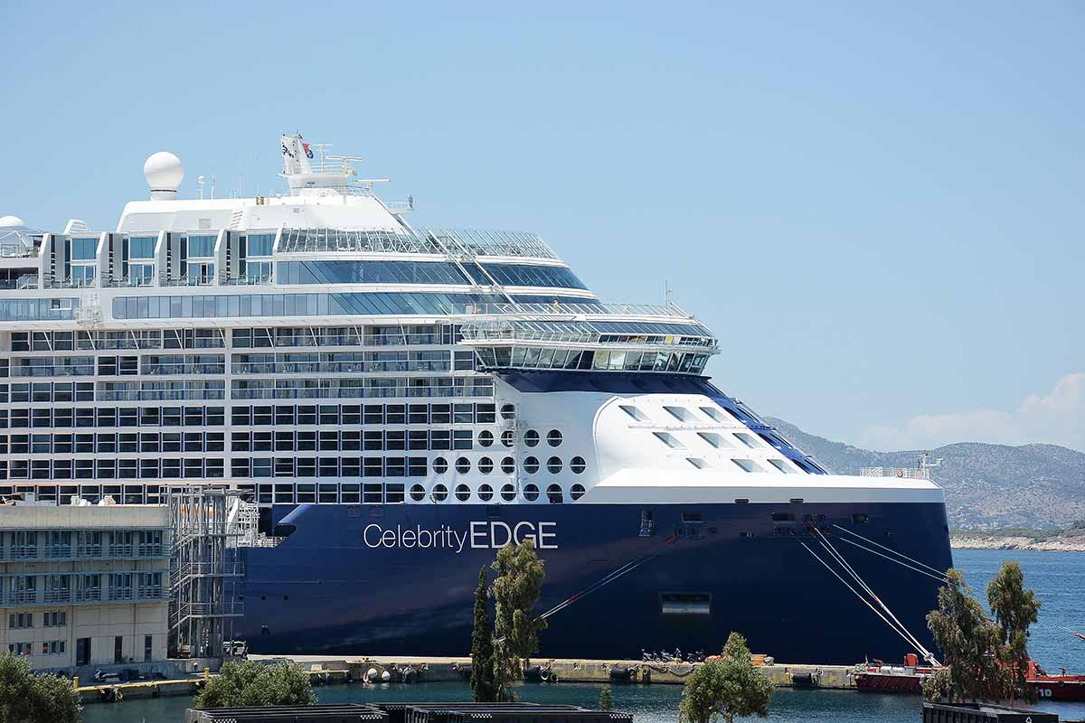 Cruise ship Celebrity Edge seen at Piraeus Port. Celebrity Edge is the first Edge-class cruise ship operated by Celebrities.