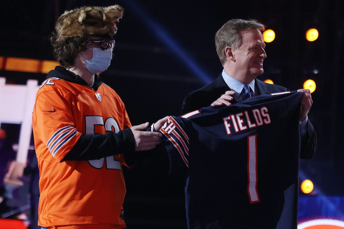 A Bears fan with NFL Commissioner Roger Goodell