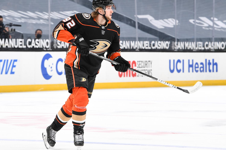 Alexander Volkov #92 of the Anaheim Ducks skates against Vegas Golden Knights against the Vegas Golden Knights during the first period of the game at Honda Center on April 18, 2021
