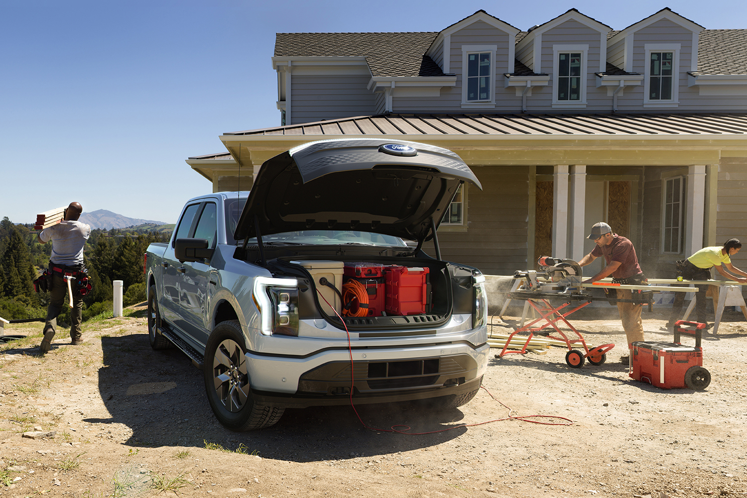 The Ford F-150 Lightning at a construction worksite