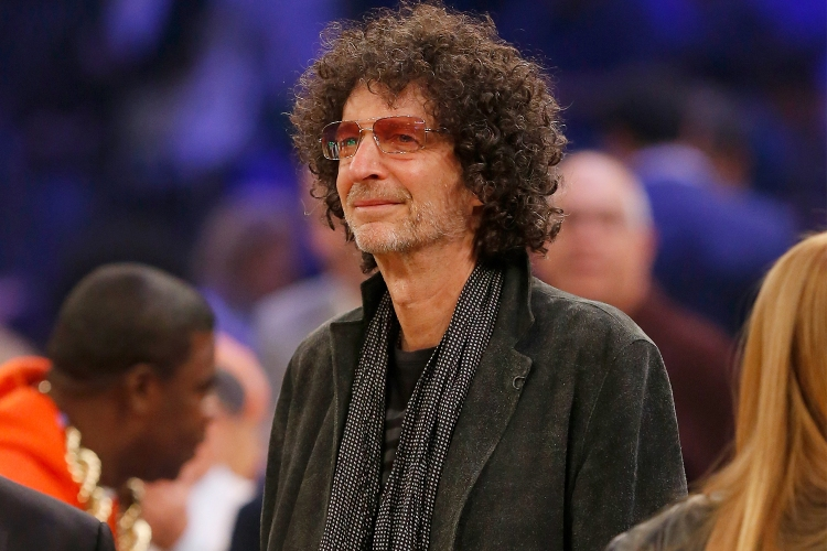 Radio host Howard Stern courtside at a New York Knicks game at Madison Square Garden in 2018
