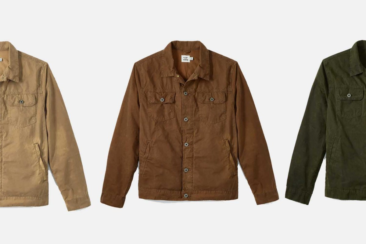 Flint and Tinder's Unlined Waxed Trucker Jacket in tan, brown and forest