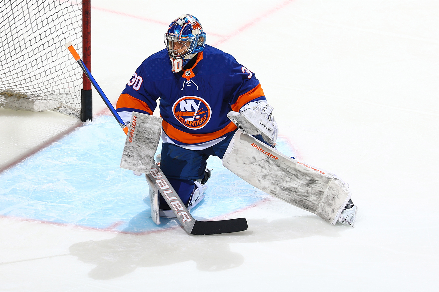 Ilya Sorokin #30 of the New York Islanders skates during warm-ups prior to the game against the Pittsburgh Penguins at Nassau Coliseum on February 28, 2021