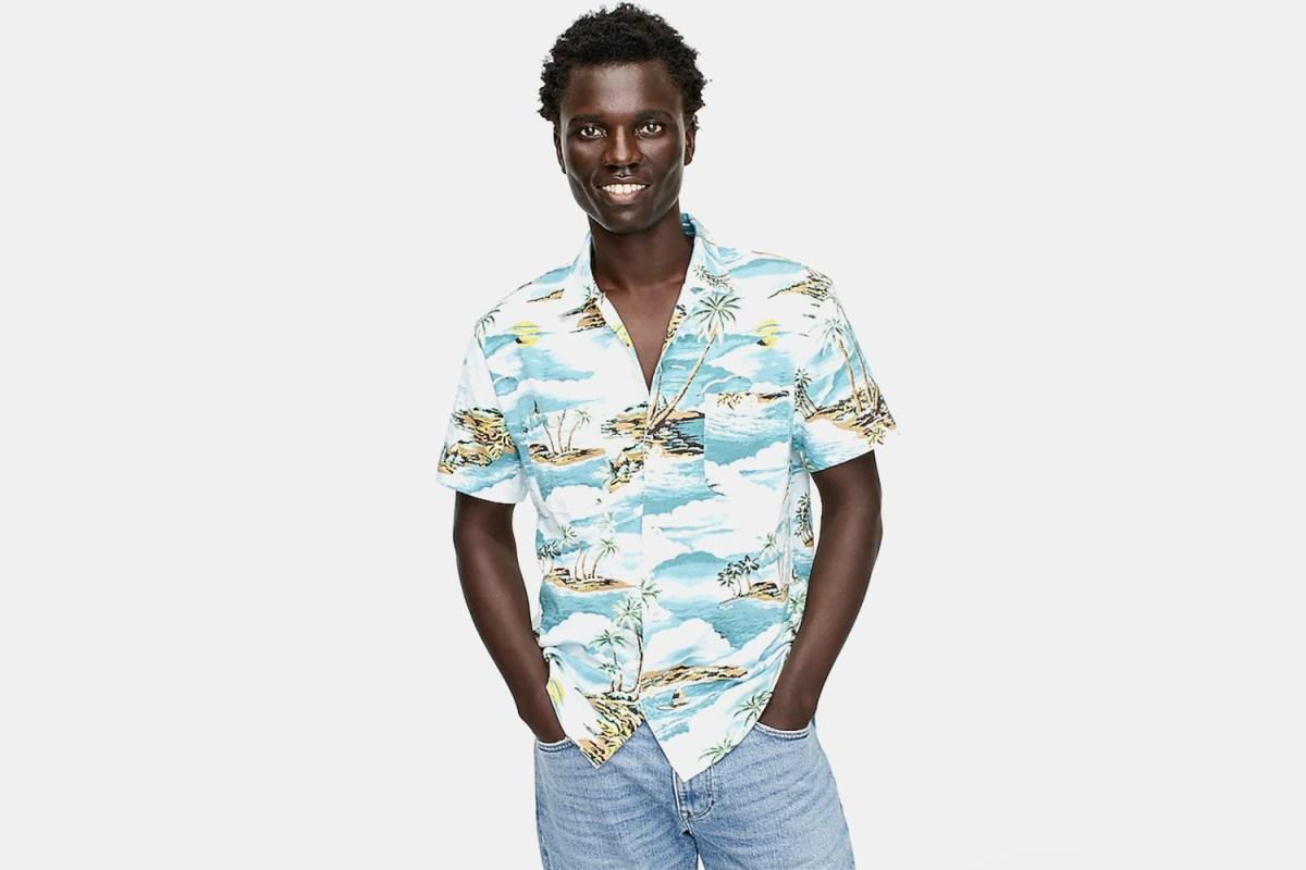 Man in a J.Crew Short-Sleeve Camp Collar Harbor Shirt
