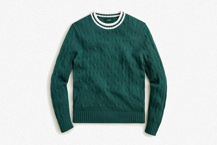 J.Crew 1988 Cotton Cable-Knit Tennis Sweater