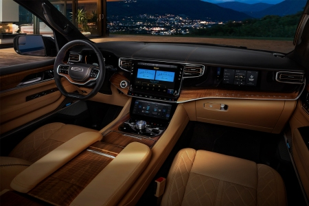 The interior cabin of the new Jeep Grand Wagoneer featuring a McIntosh sound system