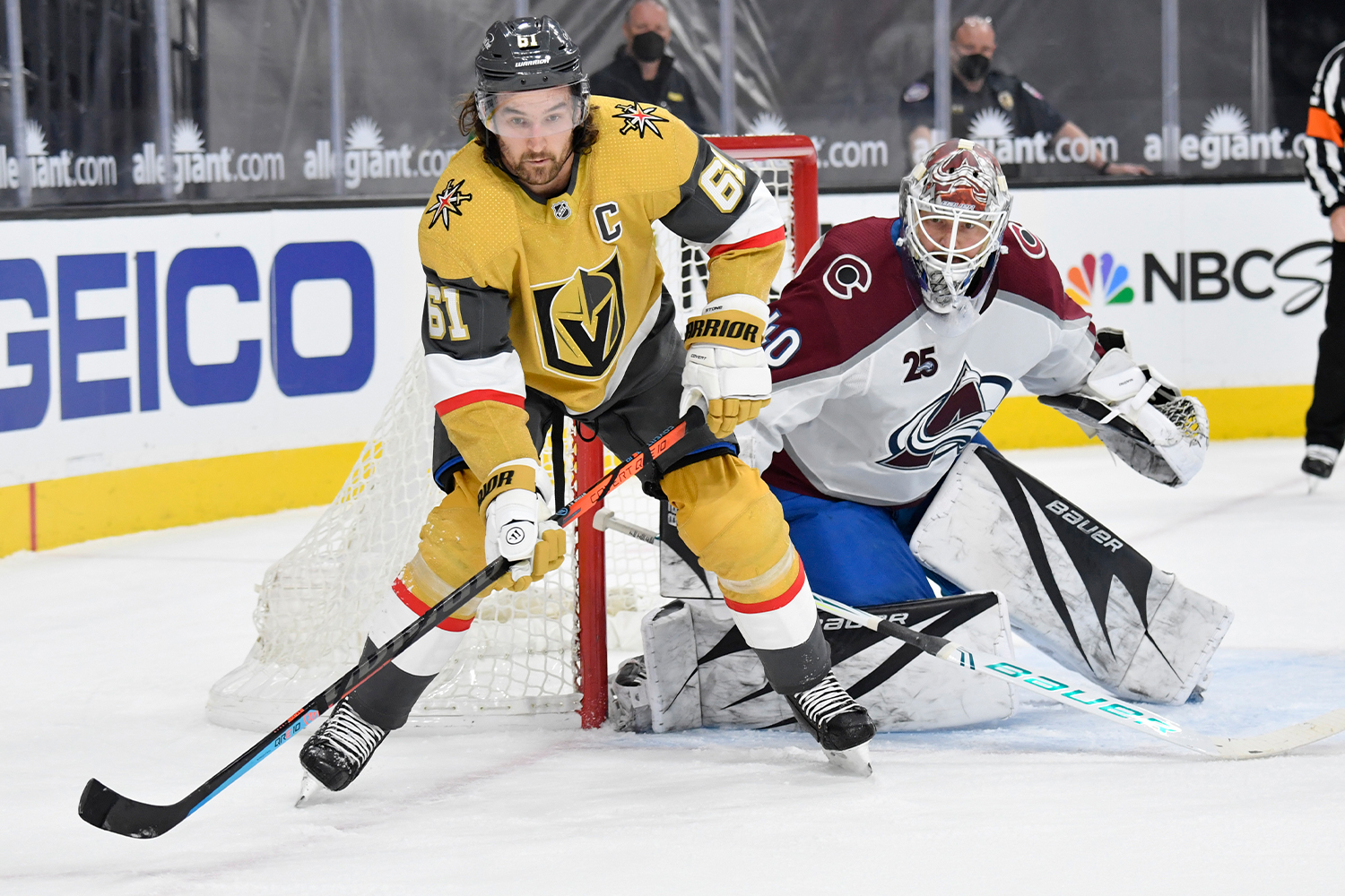Mark Stone #61 of the Vegas Golden Knights skates during the first period against the Colorado Avalanche at T-Mobile Arena on April 28, 2021