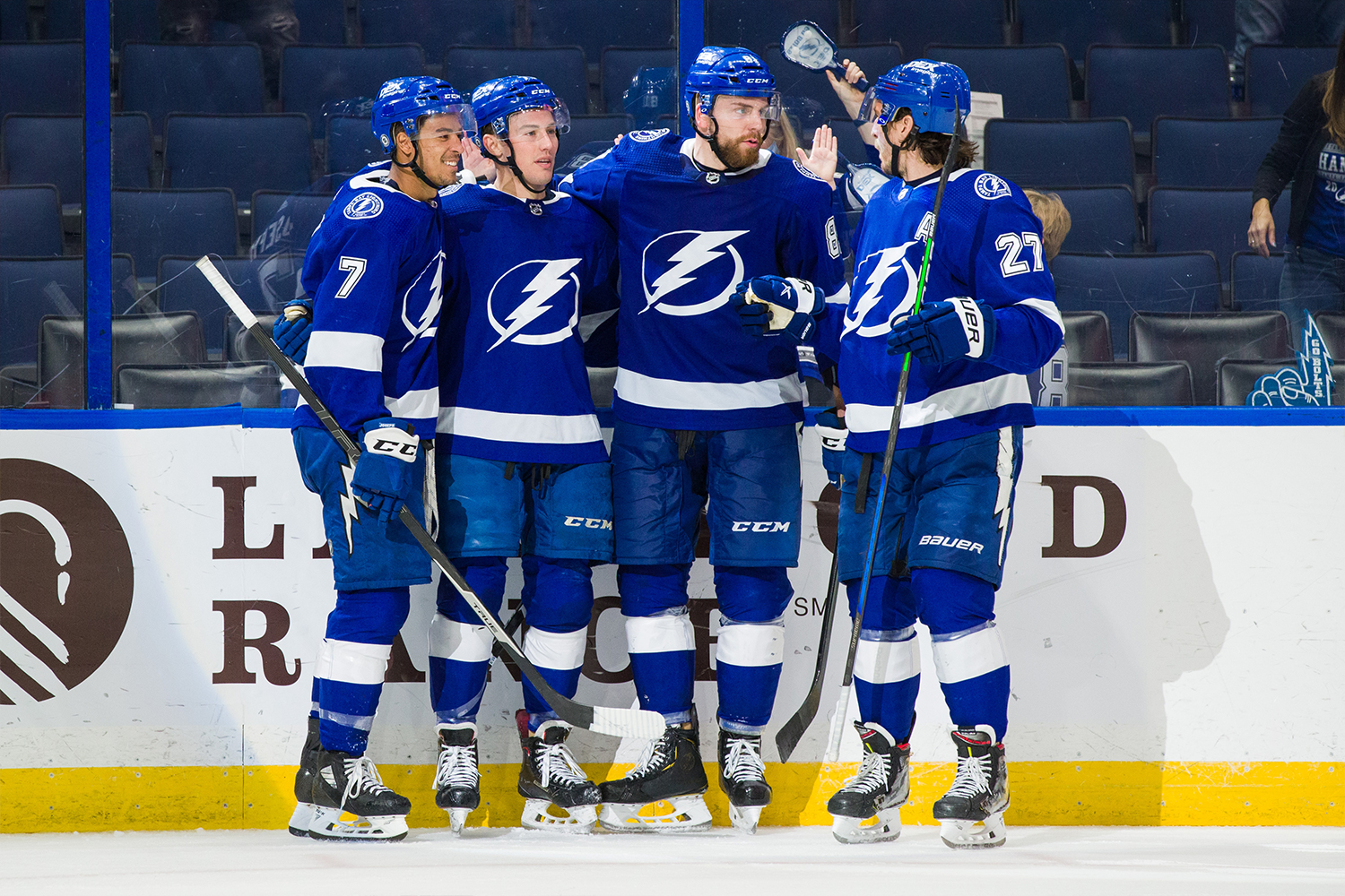 Ross Colton #79 of the Tampa Bay Lightning celebrates his goal with teammates Mathieu Joseph #7, Erik Cernak #81, and Ryan McDonagh #27 against the Dallas Stars during the third period at Amalie Arena on May 5, 2021