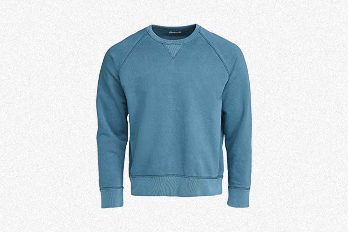 Madewell Men's Garment-Dyed Sweatshirt in blue