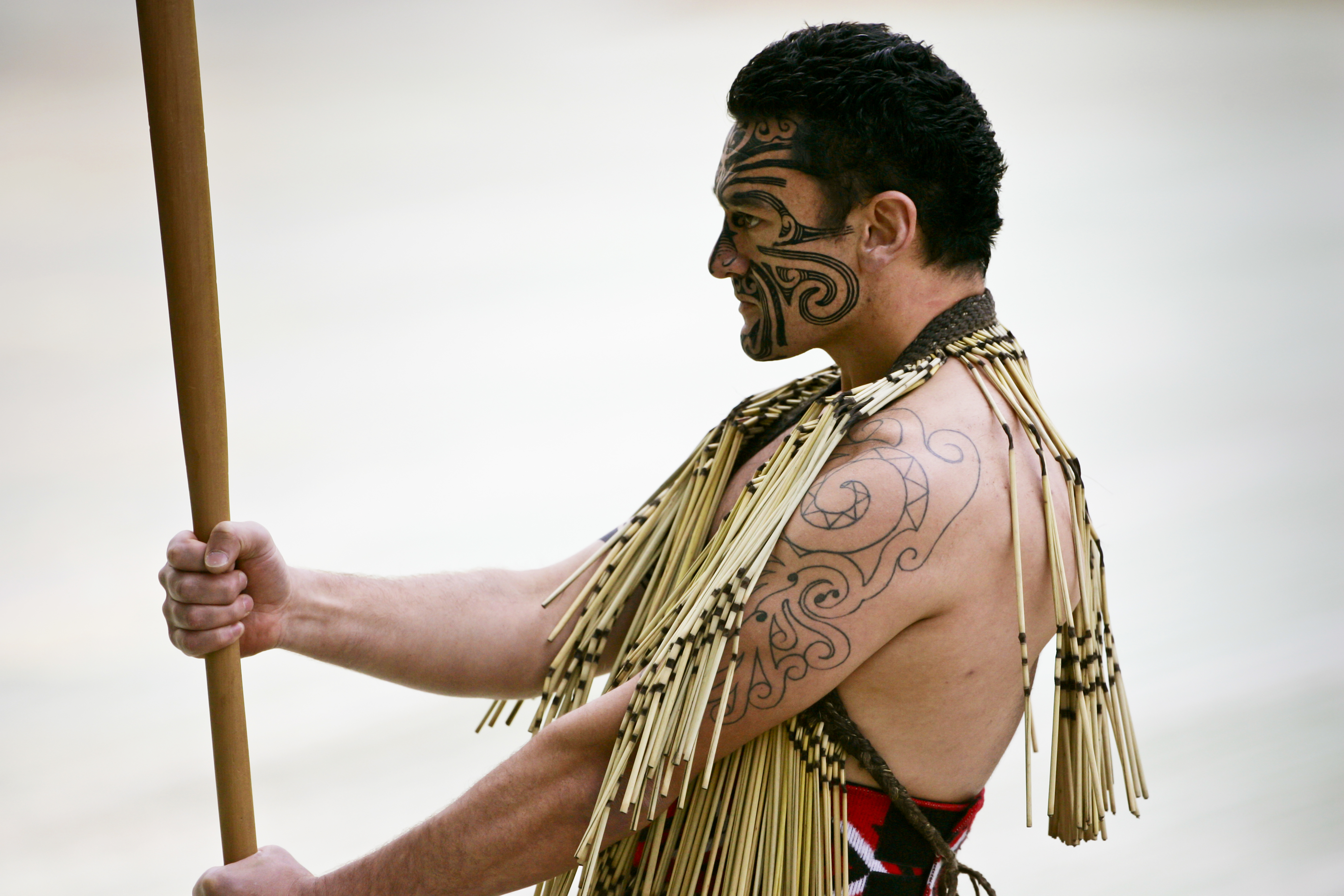 A traditional Haka performed by a Maori warrior