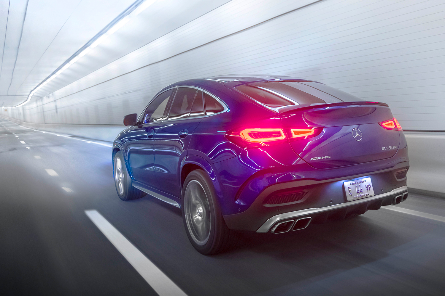 The backend of a blue Mercedes-AMG GLE 63 S Coupe