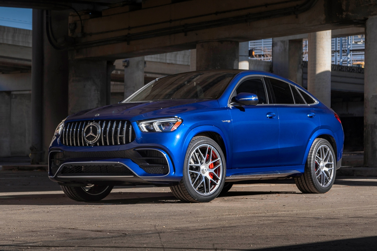 A blue Mercedes-AMG GLE 63 S Coupe sitting under an overpass