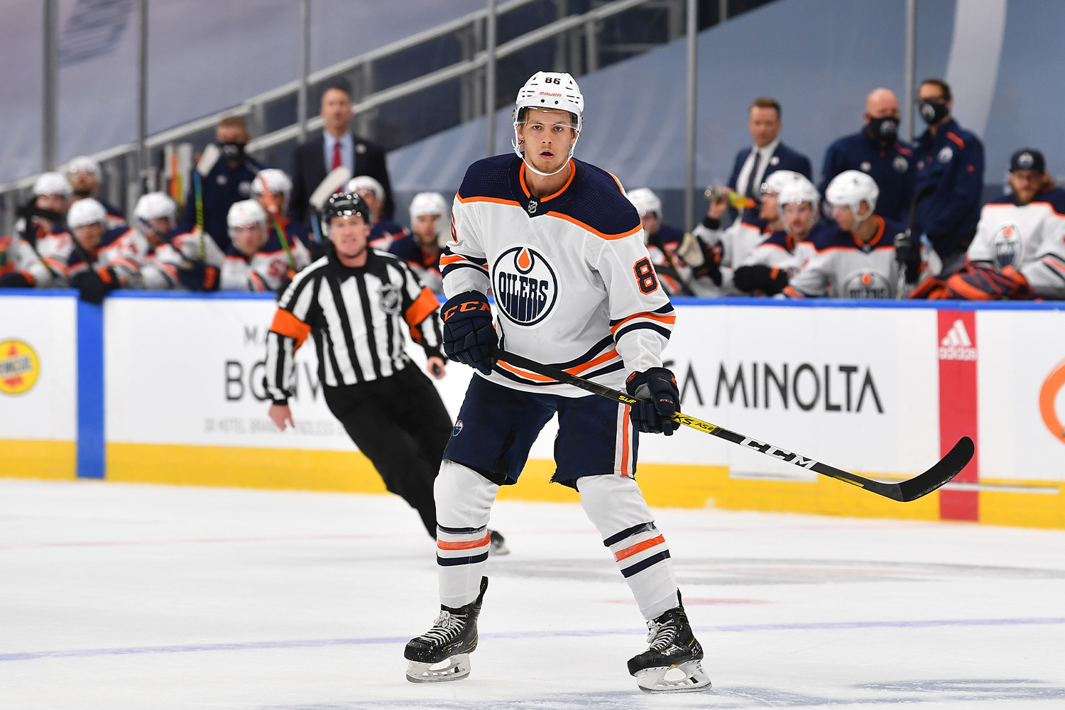 Philip Broberg #86 of the Edmonton Oilers mans the point during first period of an exhibition game against the Calgary Flames prior to the 2020 NHL Stanley Cup Playoffs at Rogers Place on July 28, 2020